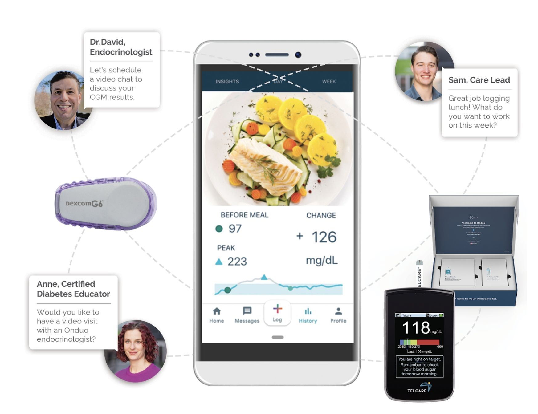 photo infographic showing how components of a type2 diabetes management program interact, using virtual technology and personal monitoring