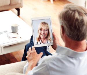 patient speaking to doctor virtually